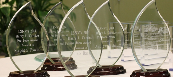 Pro Bono Awards on a Table