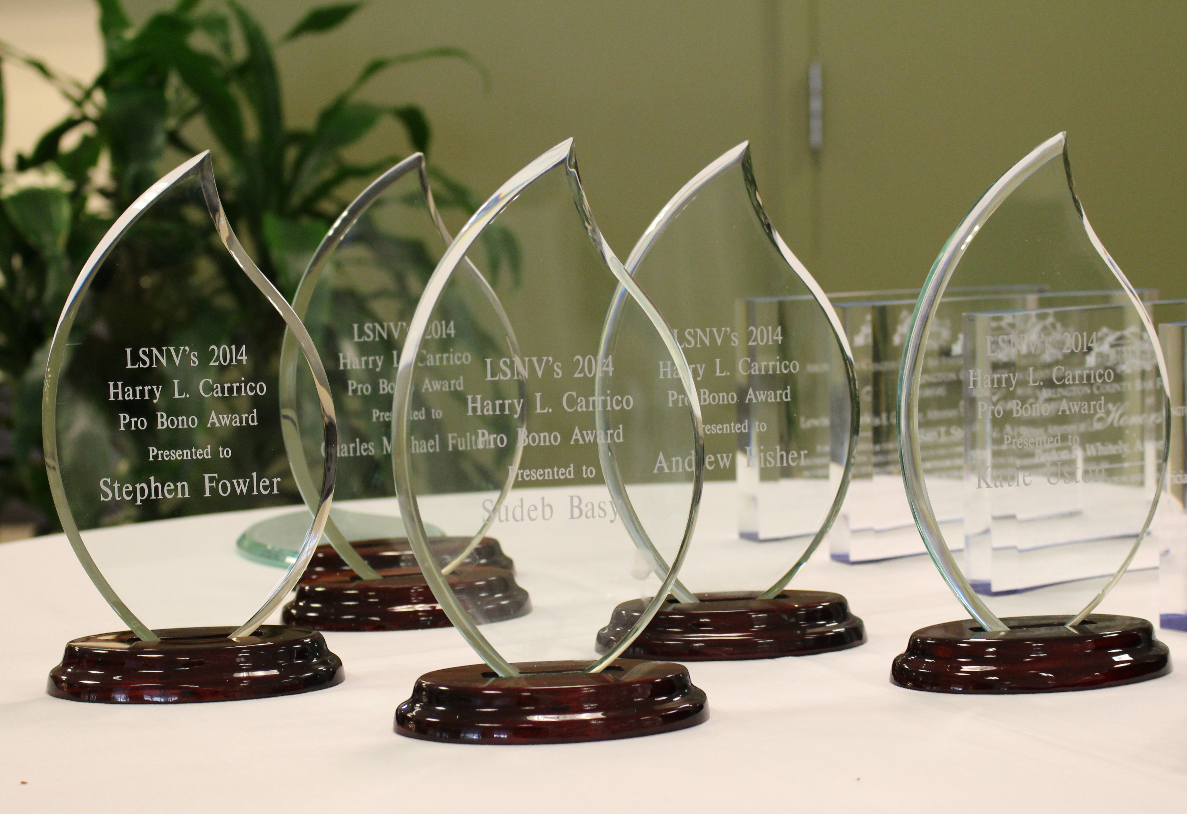 Pro Bono Awards on a Table