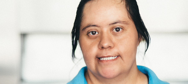 Portrait of an Adult Mexican woman with down syndrome